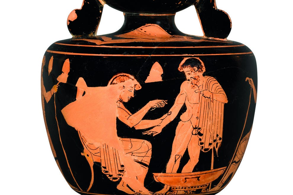 Ceramic vase depicting a scene of medical treatment 480-470 B.C in Paris, from the Louvre Museum