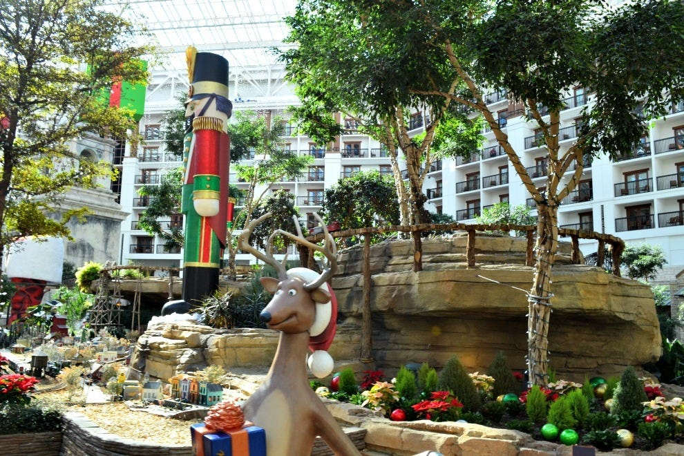 Christmas decorations in the atrium of Gaylord Texan Resort in Grapevine