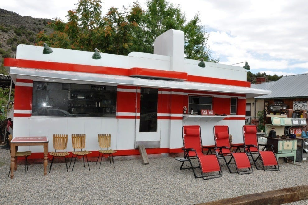 A classic white and red Valentine Diner, circa 1960