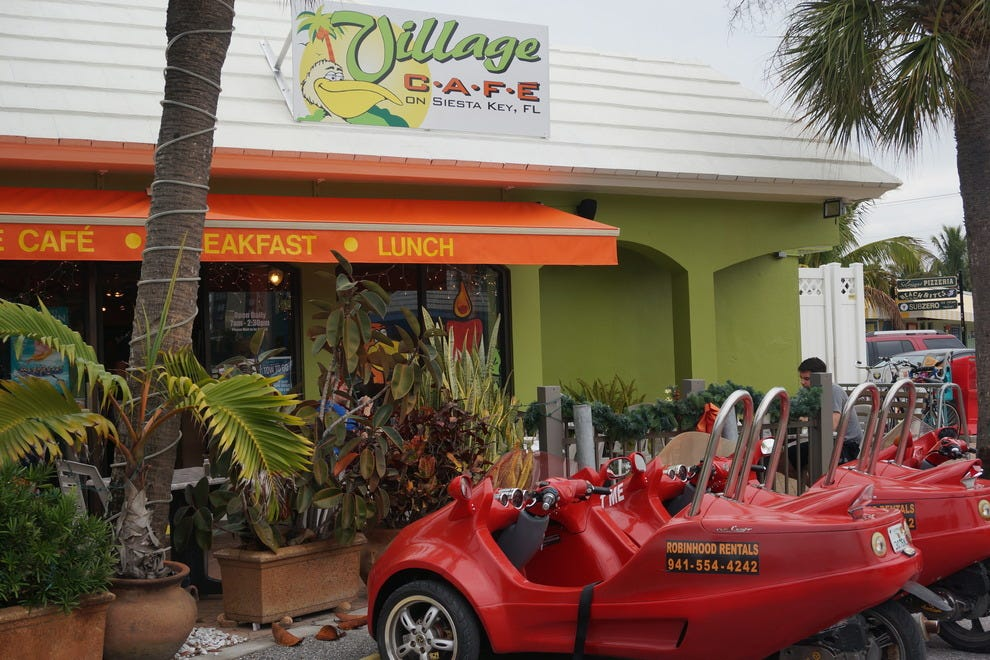 Three wheel, motorized carts are popular modes of transportation on the island
