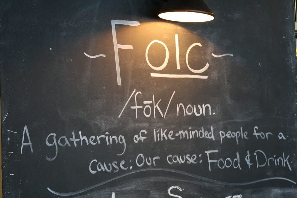 Inside Folc restaurant