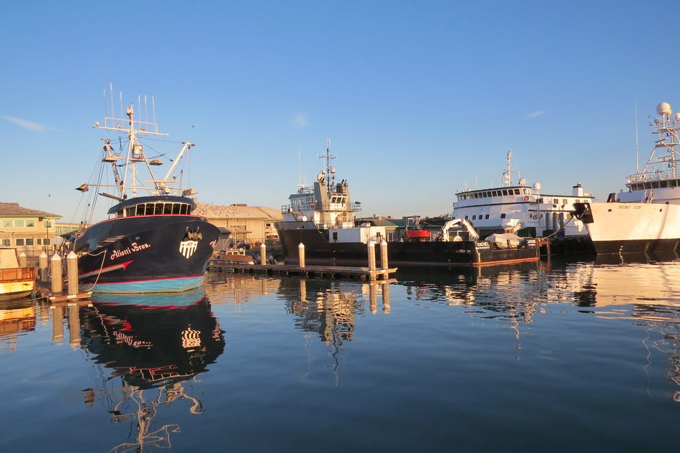 The harbor in Moss Landing looks like a mirror in the morning