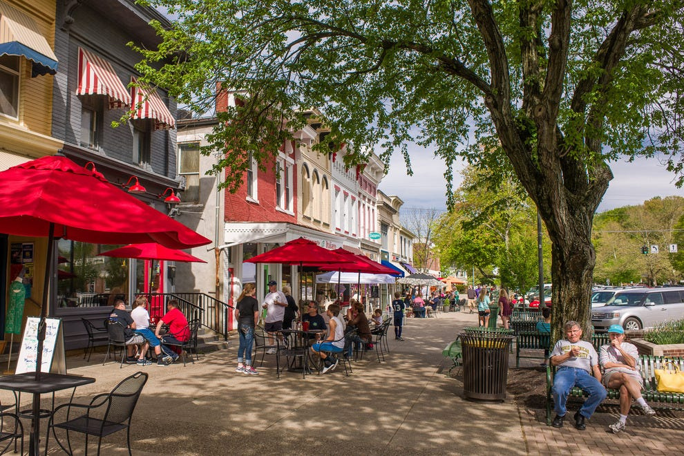 Downtown Granville has a leafy New England feel