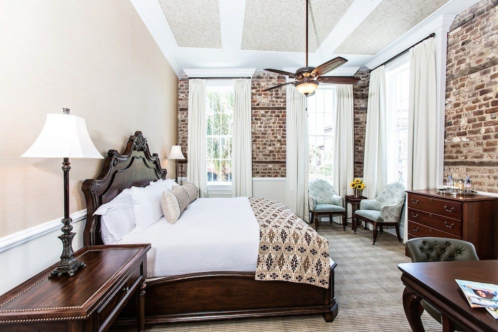 The Vendue's East Bay King Room guarantees a luxury experience, with feather bedding and unbeatable views of the historic district