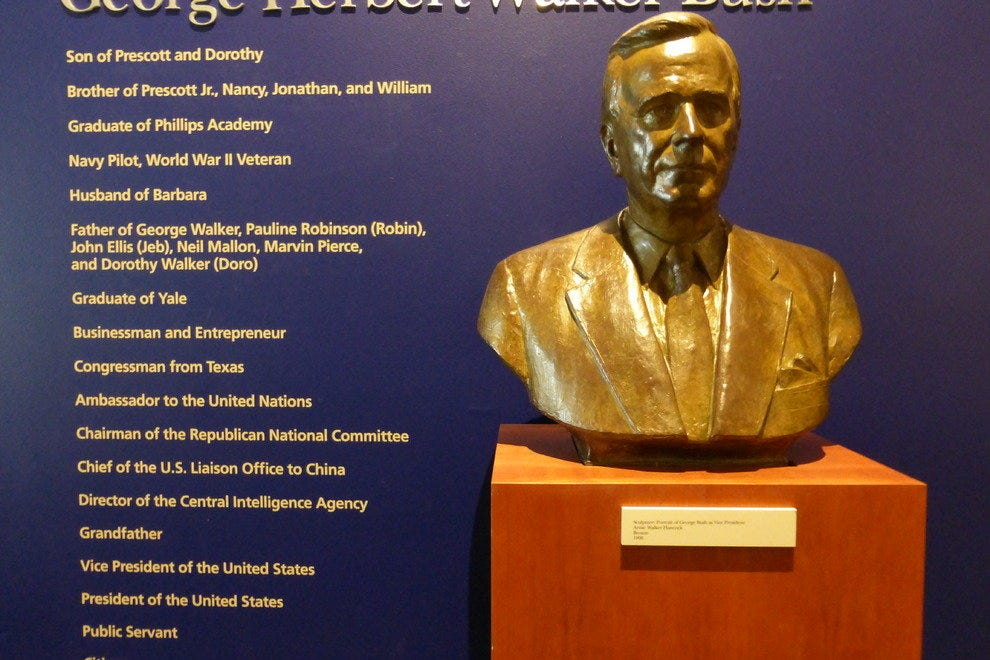 Bust of the former president alongside his extensive list of accomplishments