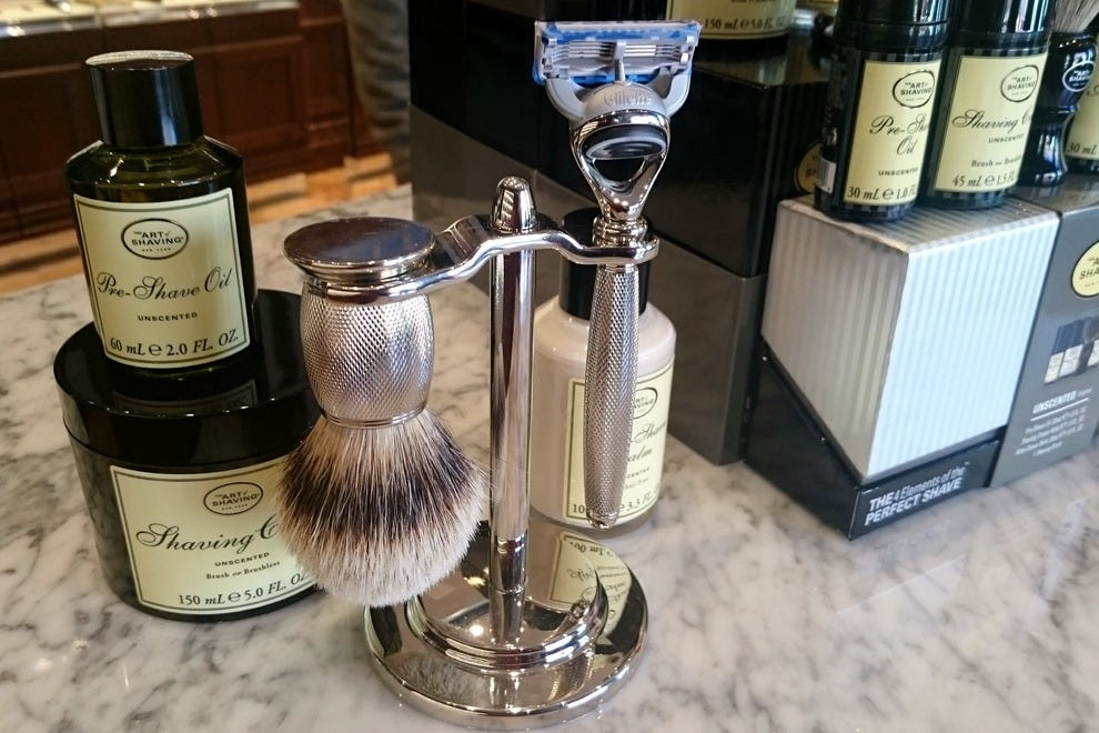 Premium razors, oils, balms and lotions are among the high-end wares at The Art of Shaving