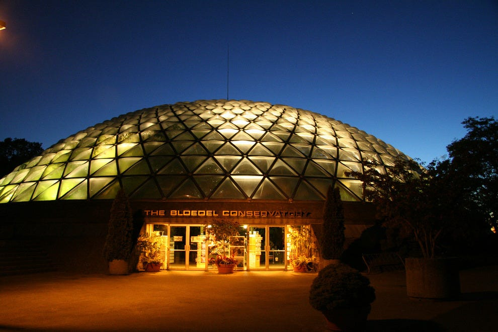 The Bloedel Conservatory lights up the evening night