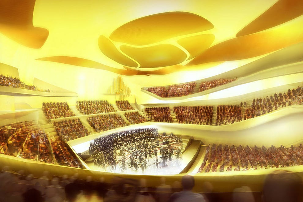 "An artist rendering of the Philharmonie de Paris' main concert hall and its ""floating in space"" balcony seating"