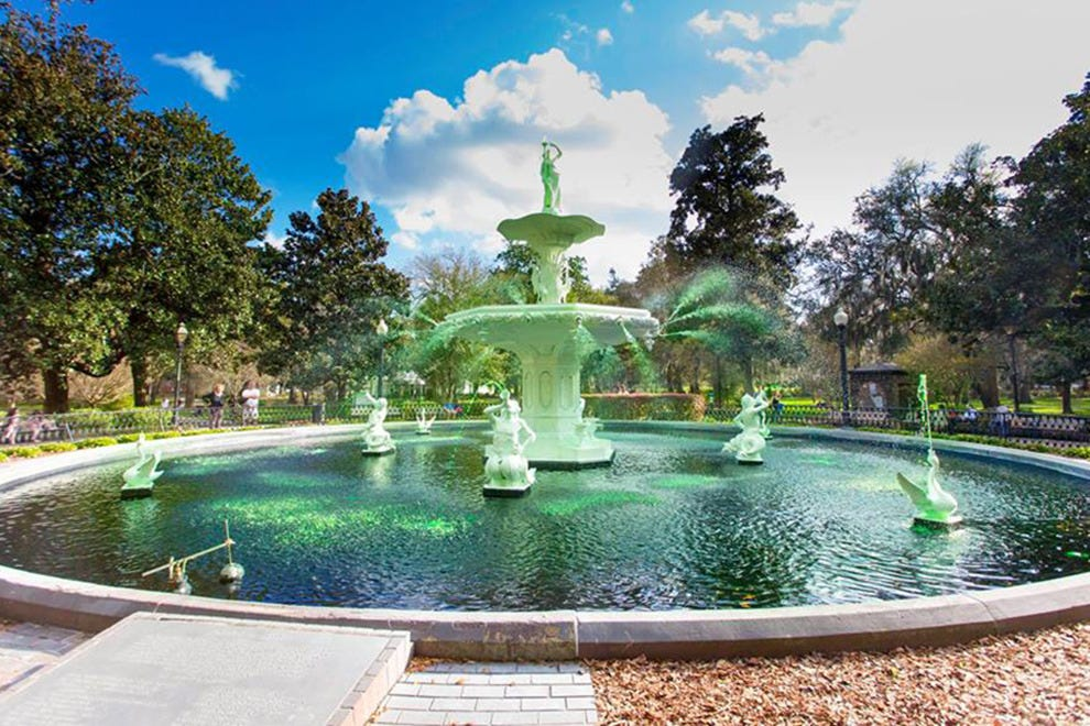 When the fountains go green, it's almost St. Patricks Day in Savannah.