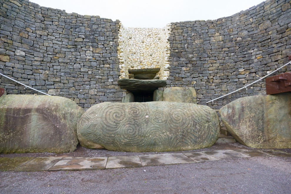 Newgrange's entry kerbstone is ornately decorated and considered to be one of the most impressive examples of Neolithic art in all of Ireland