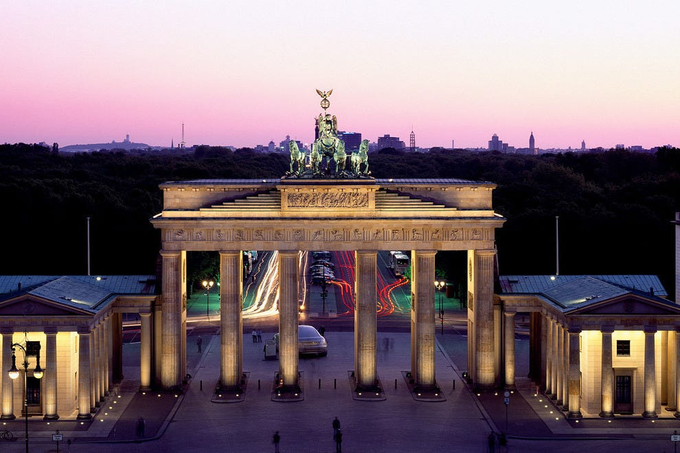 Visit Berlin's many landmarks scattered throughout the city, like the Brandenburg Gate