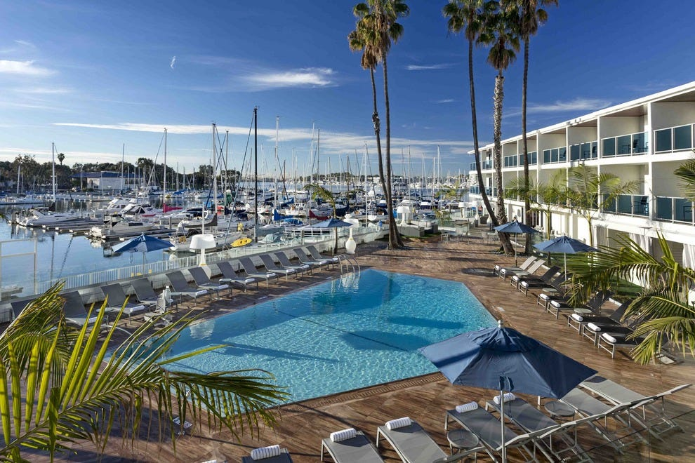 At Marina del Rey Hotel, the swimming pool overlooks the marina