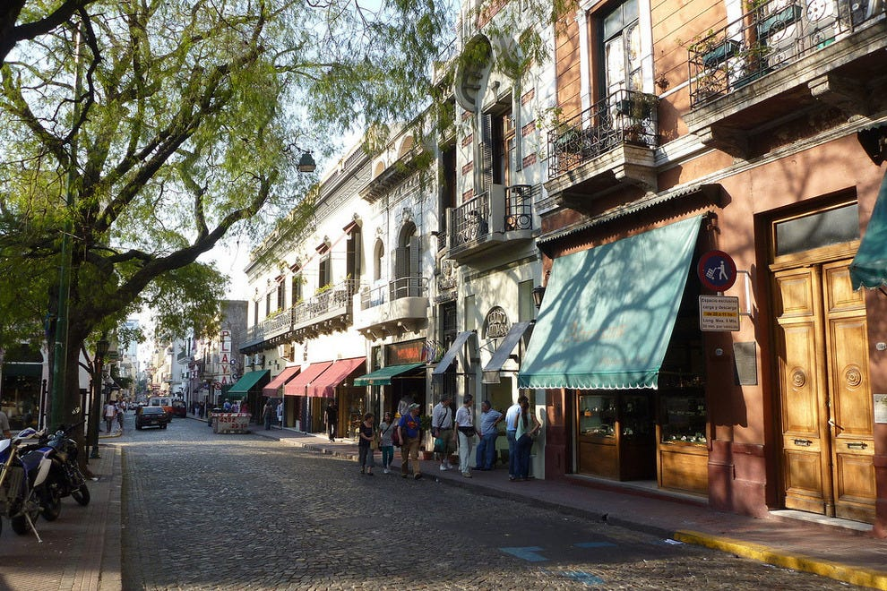 A quiet street in the artsy San Telmo neighborhood of Buenos Aires