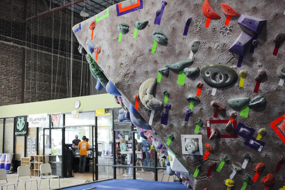 The Edge's bouldering wall offers a great challenge for free climbers