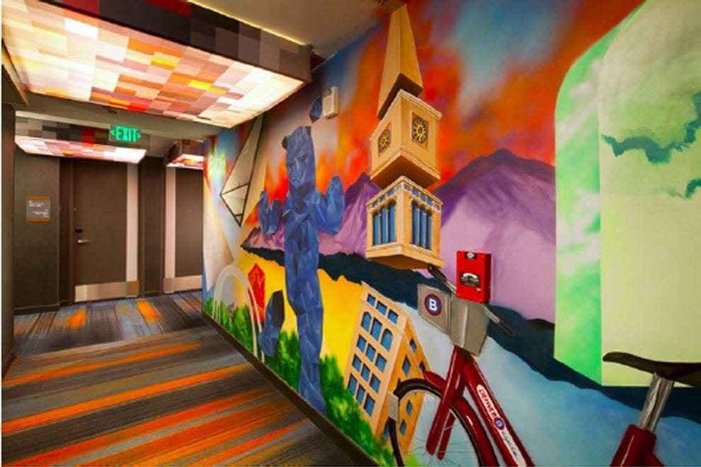 A colorful mural inside the hotel