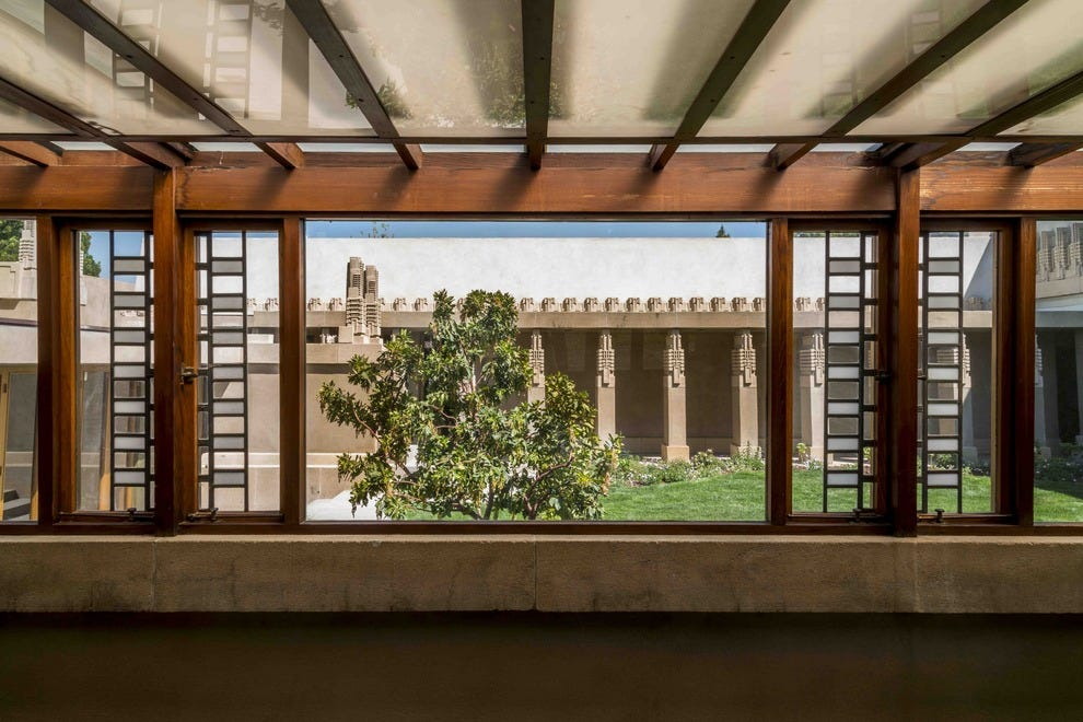 An interior view of Frank Lloyd Wright's Hollyhock House in Los Angeles