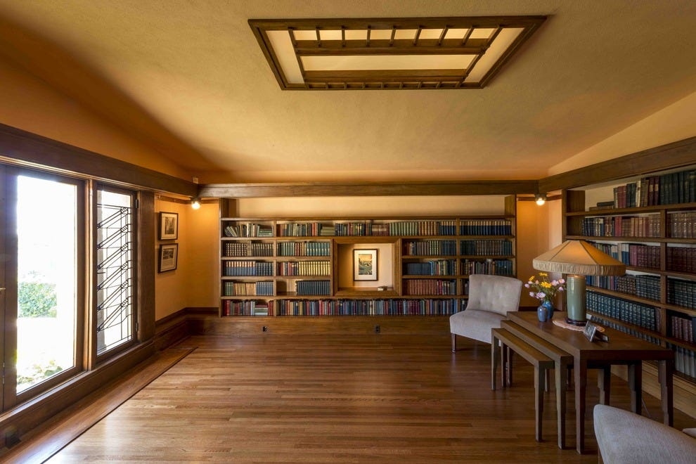 The large library at Hollyhock House in Los Angeles