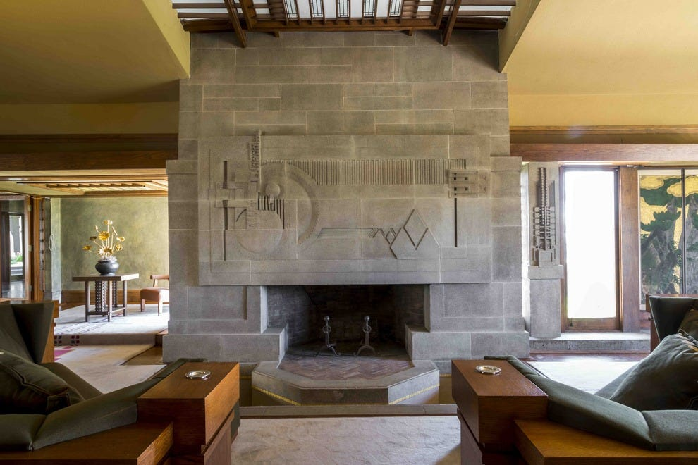The living room of the architectural treasure Hollyhock House