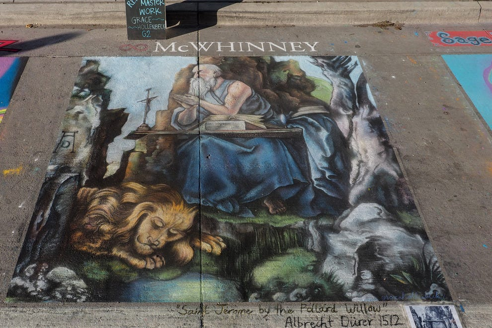 "Renaissance-era artists created reproductions of masterpieces on the streets. In the same tradition, this piece won ""Best Reproduction of a Master Work"" at the 2013 Denver Chalk Festival"