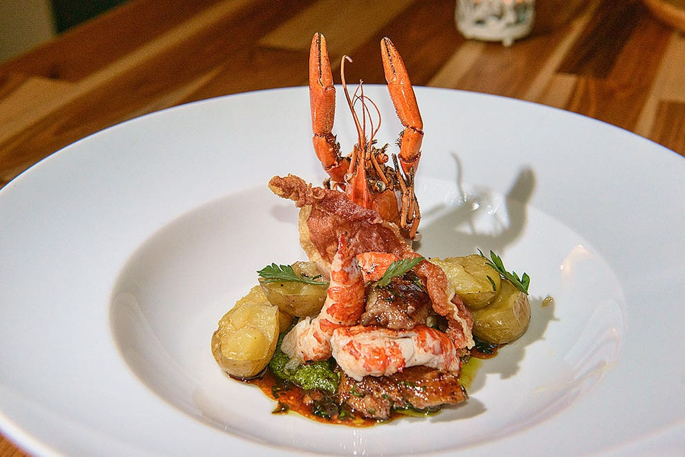 Langoustine with chimichurri sauce at 22 Kitchen & Bar