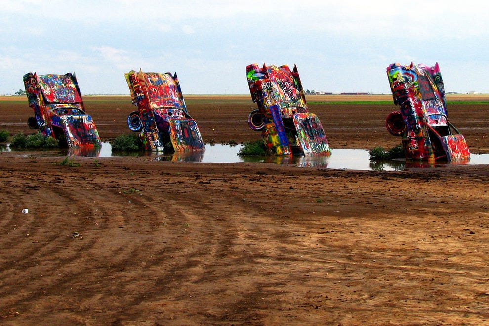 Cadillac Ranch is a traditional stop on Route 66