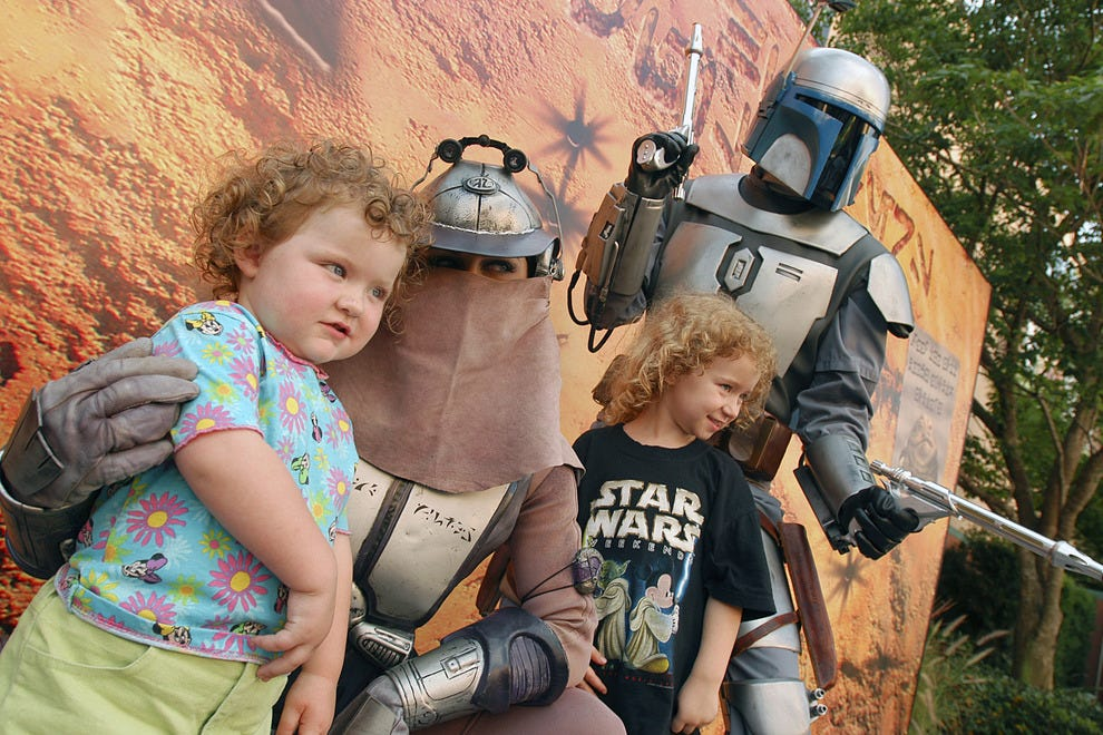 The villains, in this case Zam Wesell and Jango Fett, are as popular as the heroes for photo ops