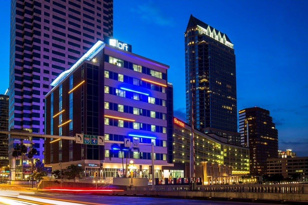Unique exterior lighting makes Aloft Tampa a colorful new addition to the city's waterfront