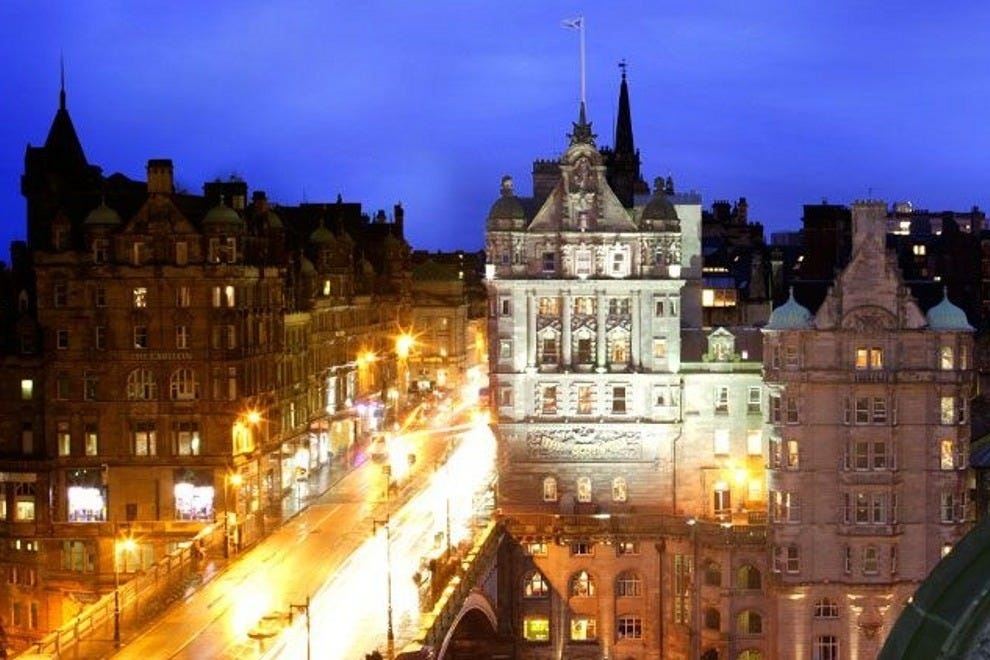 The Scotsman Hotel building at night