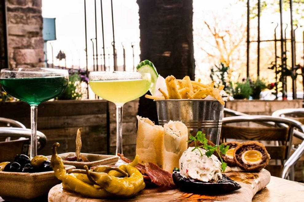 Beer cocktails and a sharing platter in the beer garden