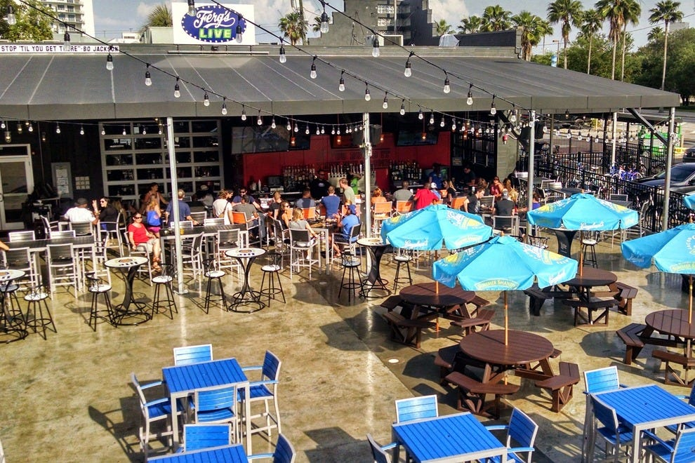 A large outdoor courtyard offers tons of space to enjoy Tampa's great weather and groove to the music