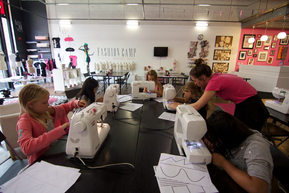 Learning to sew at Fashion Camp