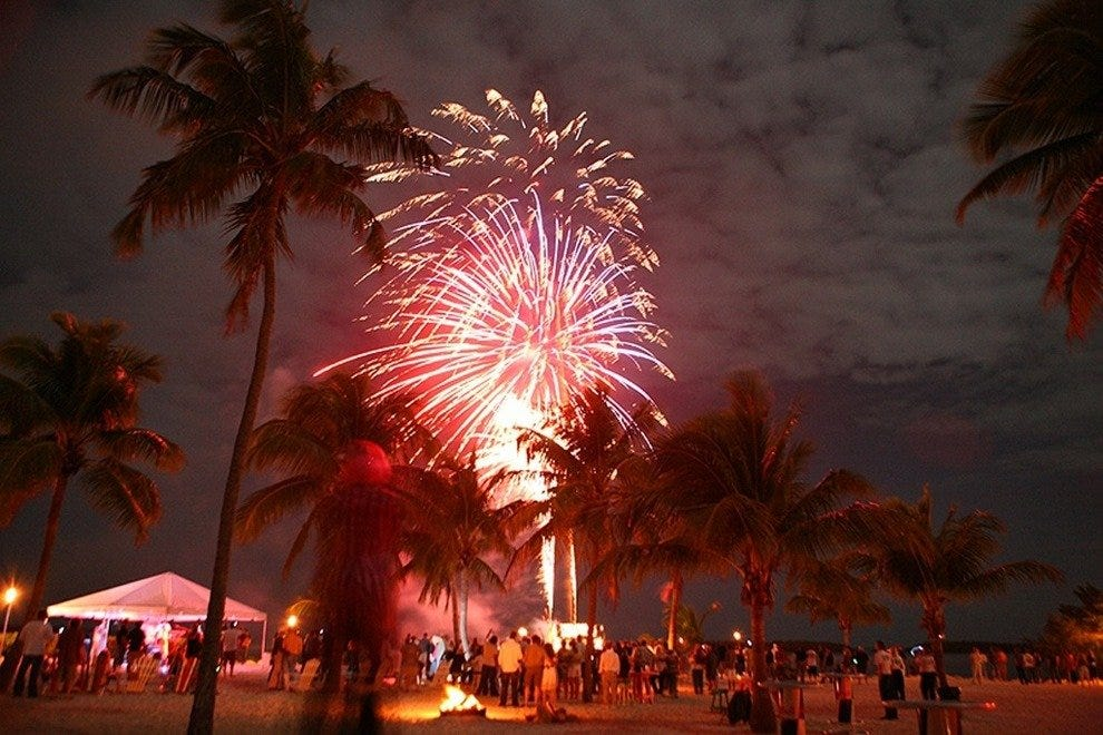 Fireworks cap off the evening at the Full Moon Party