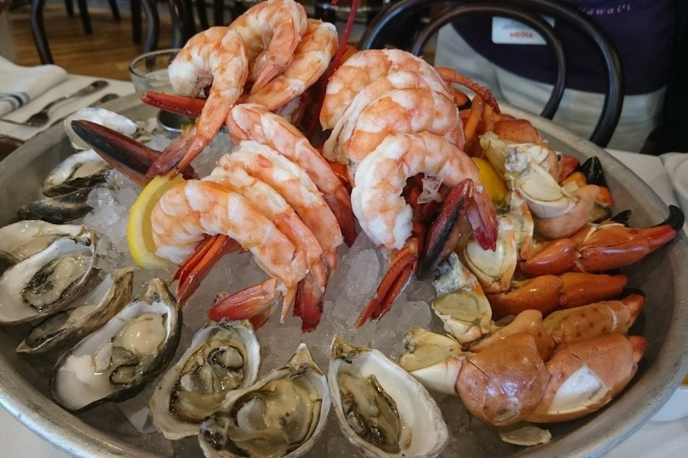 This platter by The Boathouse features oysters, shrimp, lobster and Florida stone crab