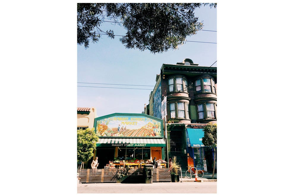 Vintage shops and tattoo parlors in Haight-Ashbury