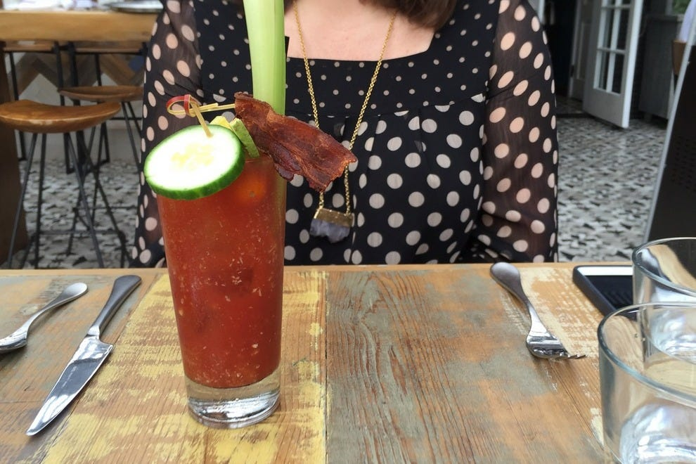 Try a bloody Mary served with vodka or gin (and bacon!)