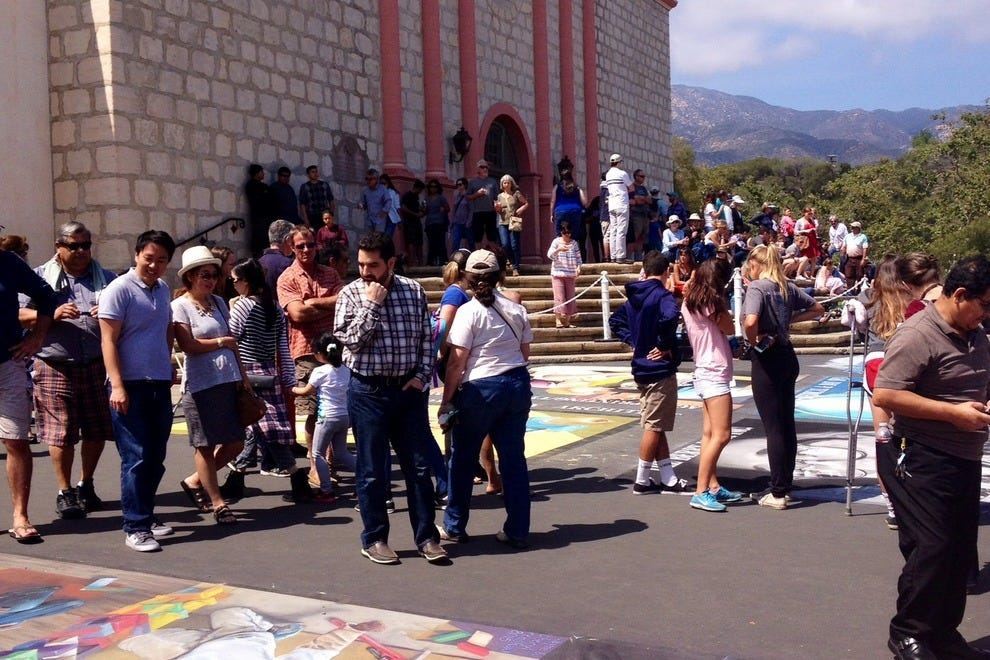 Visit the Mission over Memorial Day weekend to see the I Madonnari chalk art festival