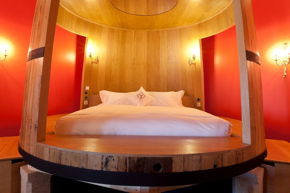 A Master Suite highlights wine barrel décor