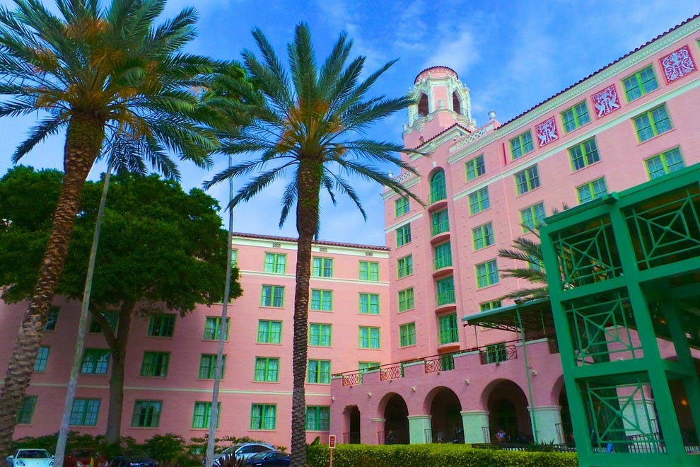 The pink-colored Vinoy Renaissance Resort & Golf Club is situated on the waterfront in downtown St. Petersburg