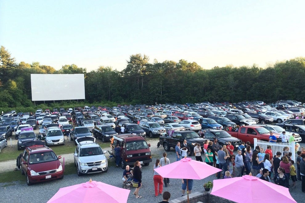 Setup for seeing the screens at Mendon Twin Drive-In