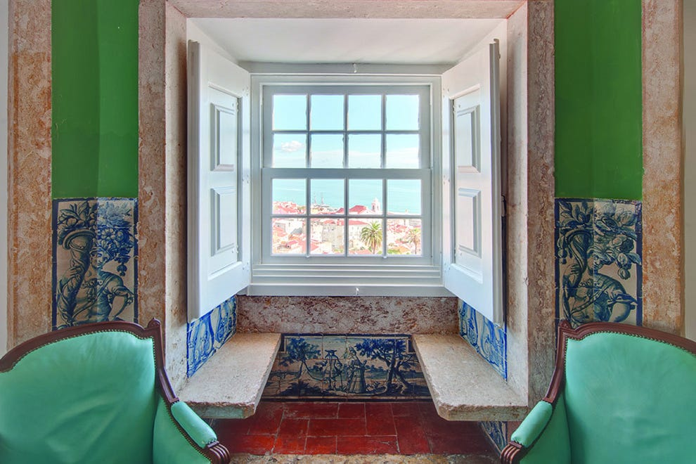 Hand-painted 18th century tiles hint at a regal past