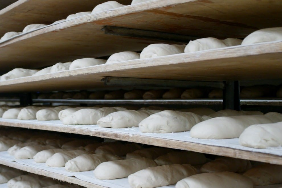 La Segunda's famous Cuban bread loaves, resting before baking
