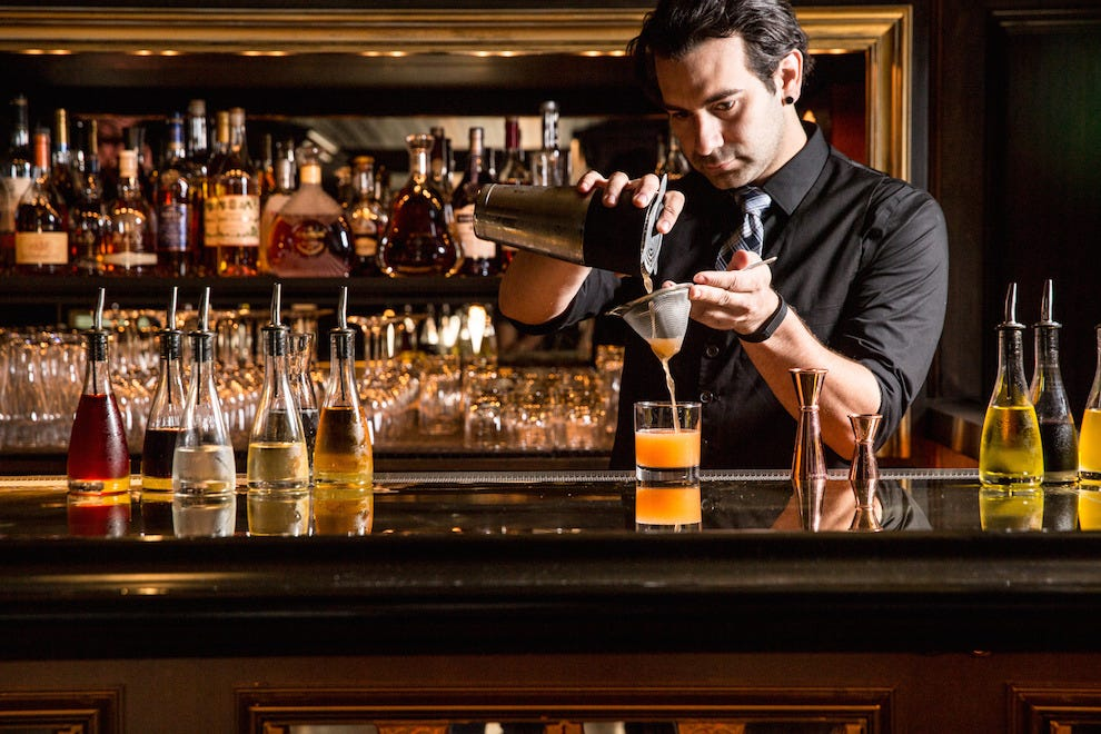 Lead Bartender John Codd, in his element at Gaspar Brasserie