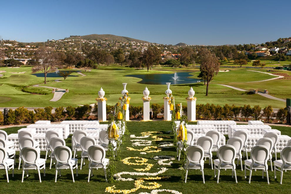 The Legends Lawn at Omni La Costa Resort & Spa overlooks rolling greens and fairways.