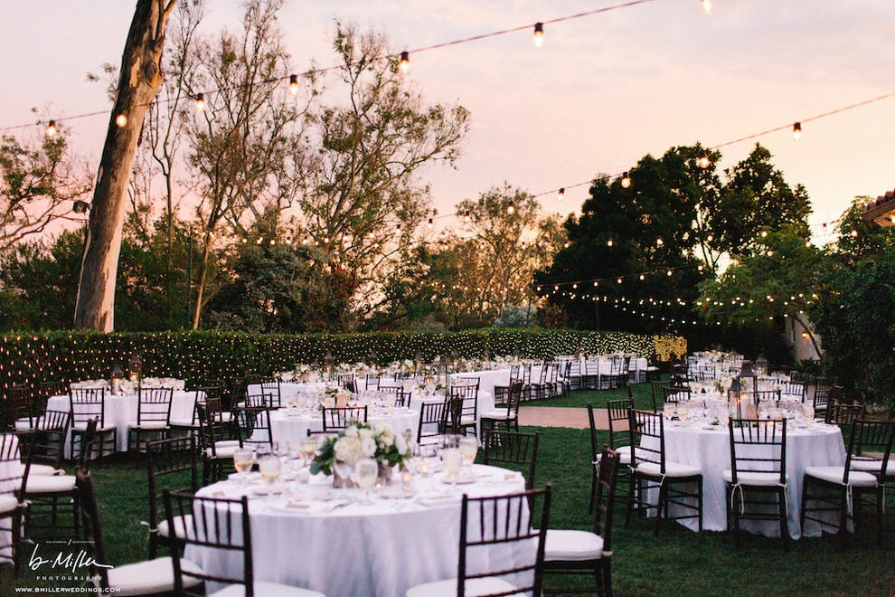 The lawn at The Inn at Rancho Santa Fe sets an intimate tone for inland weddings.