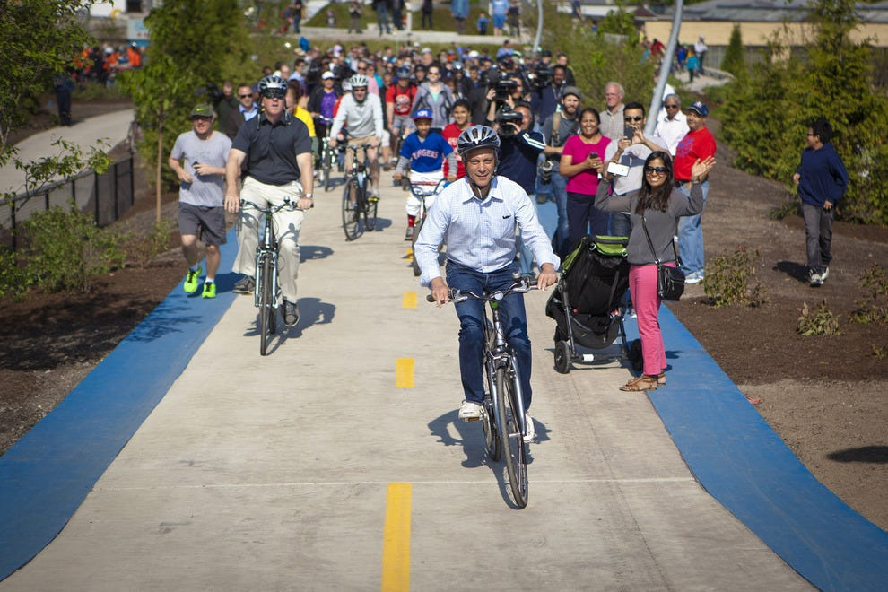 Chicago Mayor Rahm Emanuel rides the new 606 bike path on opening day