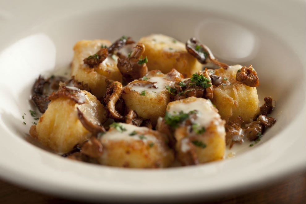 Lucia's semolina gnocchi with mushrooms