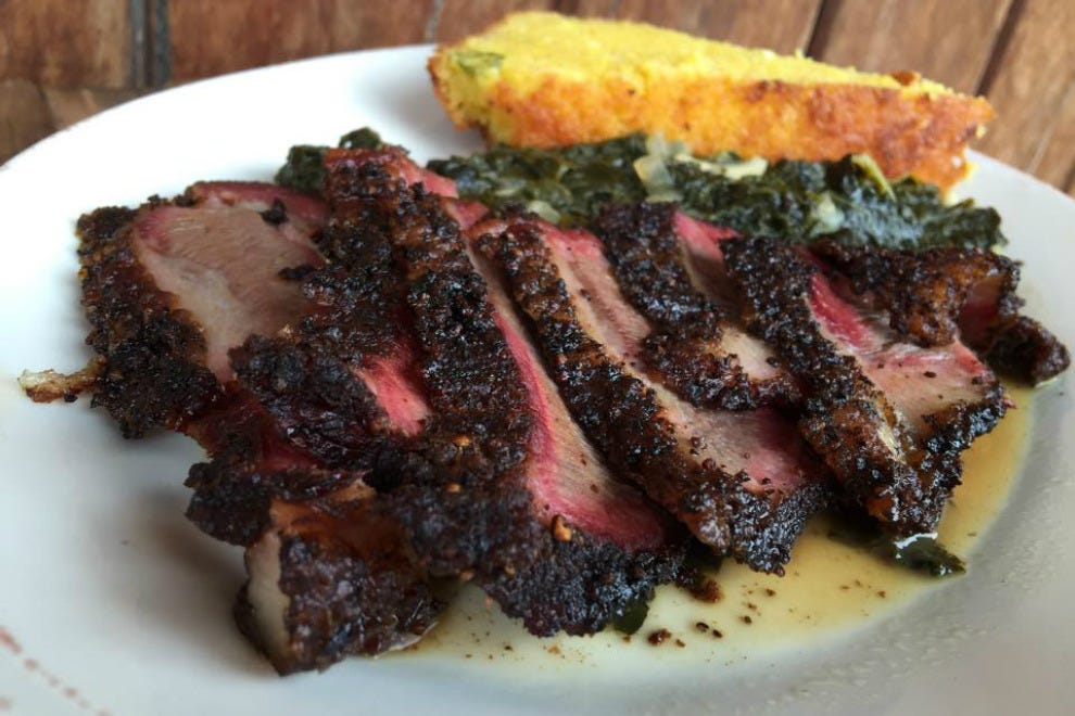 Hibiscus' Windy Hill Farm goat brisket with Wadell's greens and jalapeño cornbread