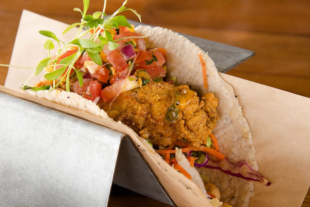 Cornmeal fried oysters taco at Velvet Taco
