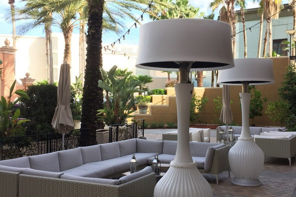 The hotel's award-winning restaurant Pelagia features a comfortable outdoor seating area