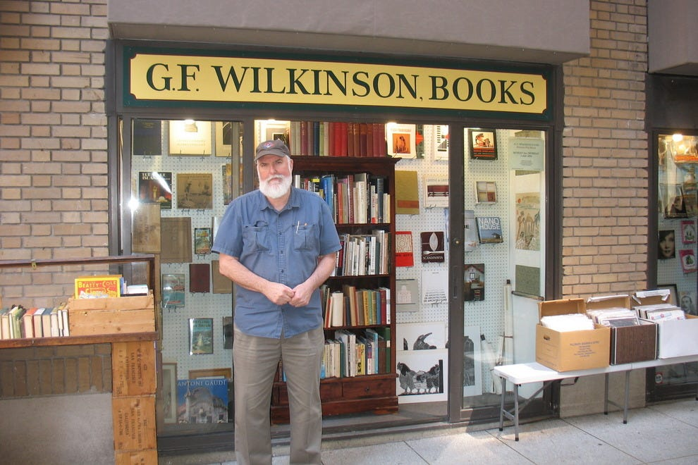 G.F. Wilkinson, a corporation of one, runs his bookstore Mondays through Thursdays from 11 a.m. to 4 p.m.